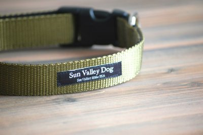画像1: 【Sun Valley】 New ウェブカラー首輪 Olive